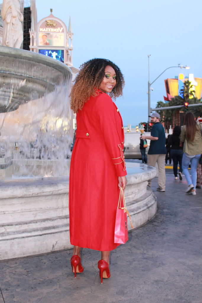 red- red high heels- l.a.m.b shoes-red coat-birthday makeup-holiday makeup-banana republic-vegas