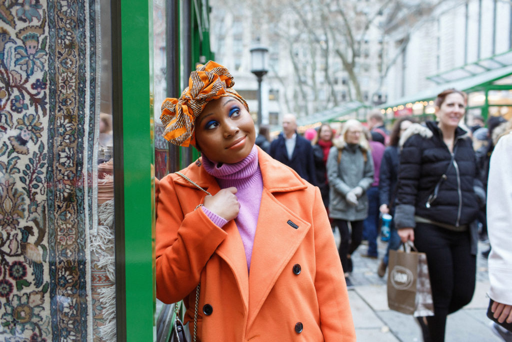 blue -eye-makeup- neoncoat-orangecoat-headwrap-Bryantpark-ebonygirl-color-colorfulfashions-brightsinwinter