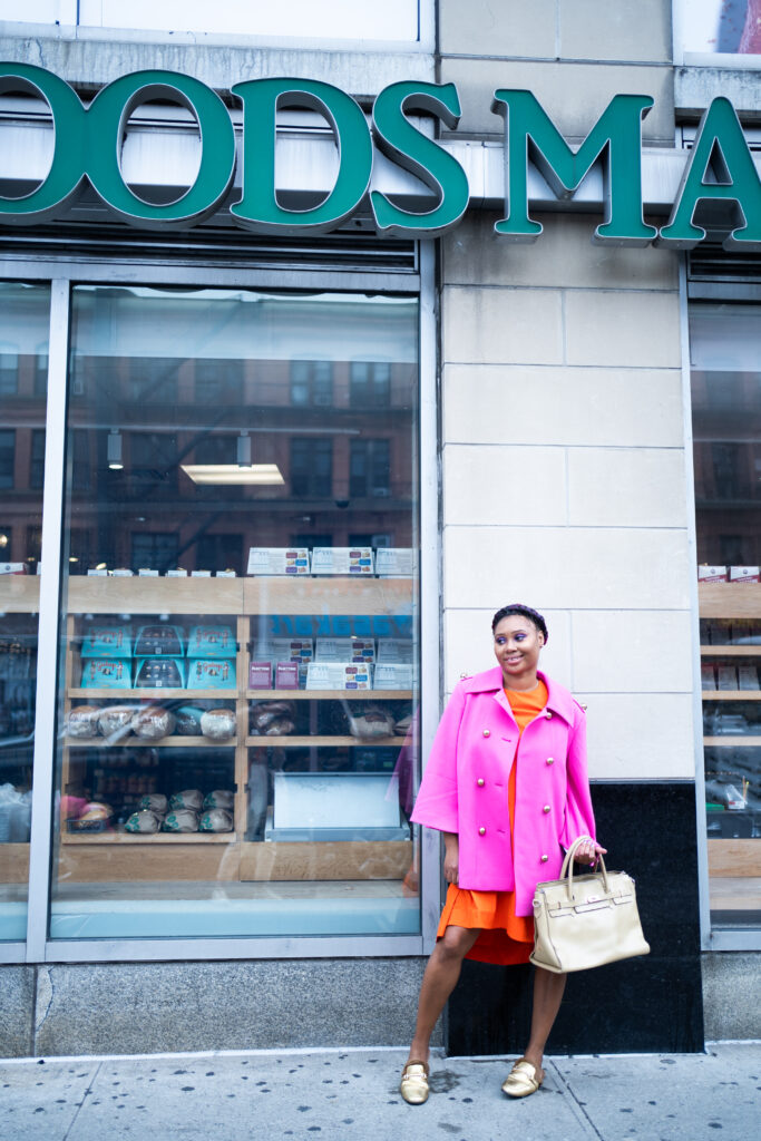 Whole foods-healthy for the rich-Blaire Eadie coat-Nordstrom Cape Pink Coat-Black girl-Barbie coat