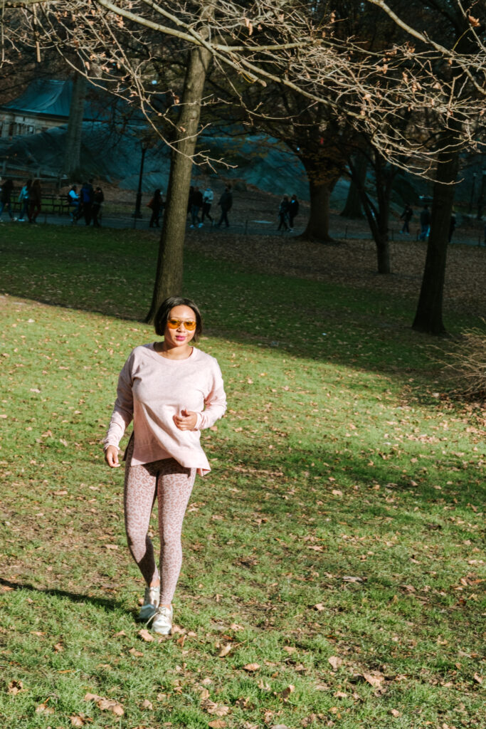 running, black girl, workout, over 40 workout, walks, central park, free, outdoor working out