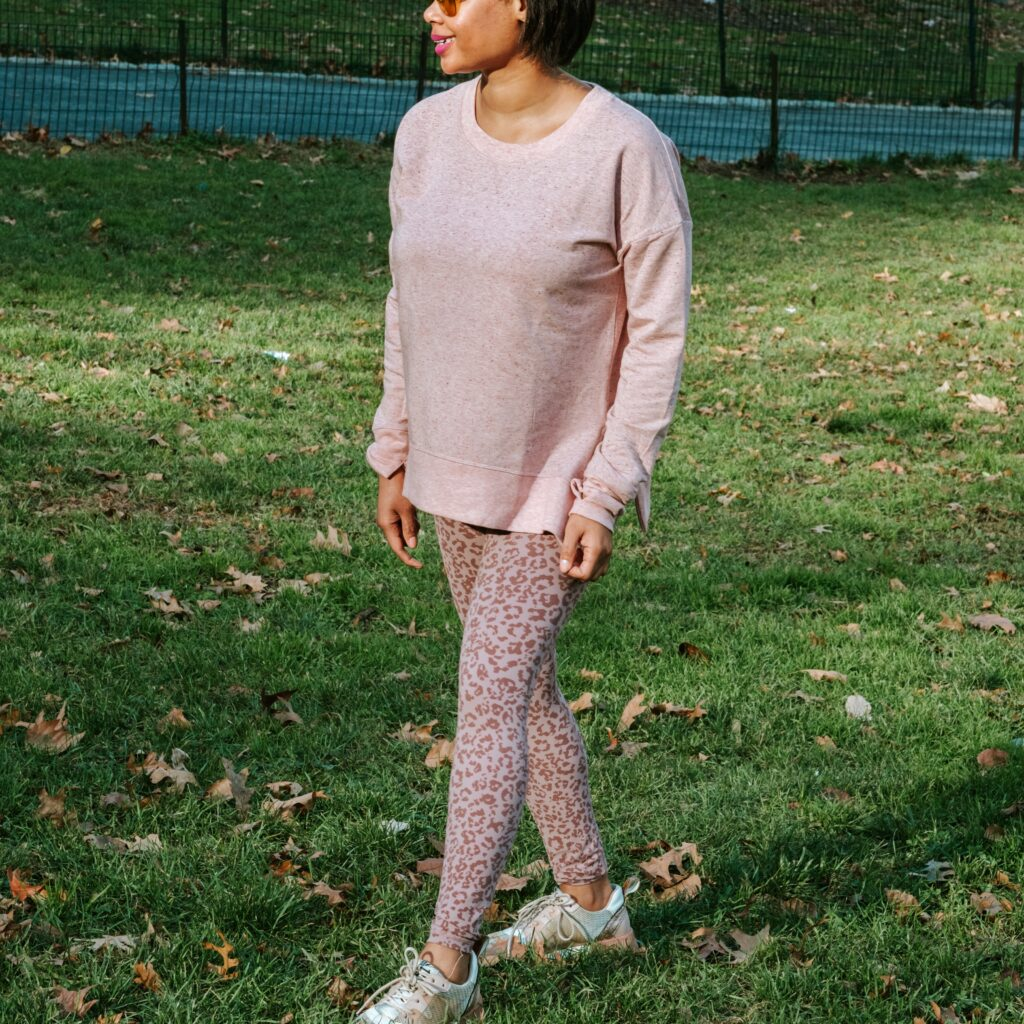 althea workout outfit, nyc,green grass, nyc playground