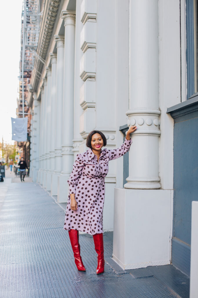 polka dot dress-halogen-eadie-blogger-fashionblogger-black nyc blogger
